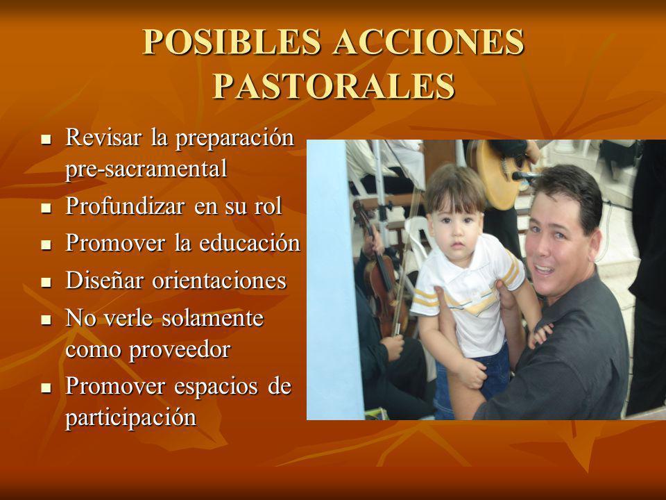 POSIBLES ACCIONES PASTORALES Revisar la preparación pre-sacramental Revisar la preparación pre-sacramental Profundizar en su rol Profundizar en su rol