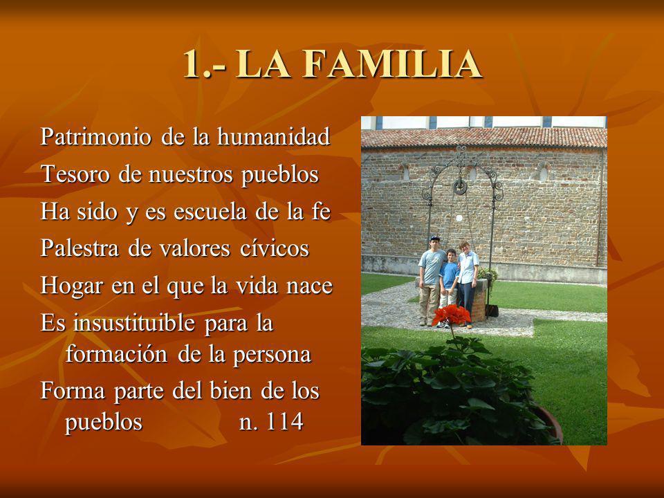 1.- LA FAMILIA Patrimonio de la humanidad Tesoro de nuestros pueblos Ha sido y es escuela de la fe Palestra de valores cívicos Hogar en el que la vida