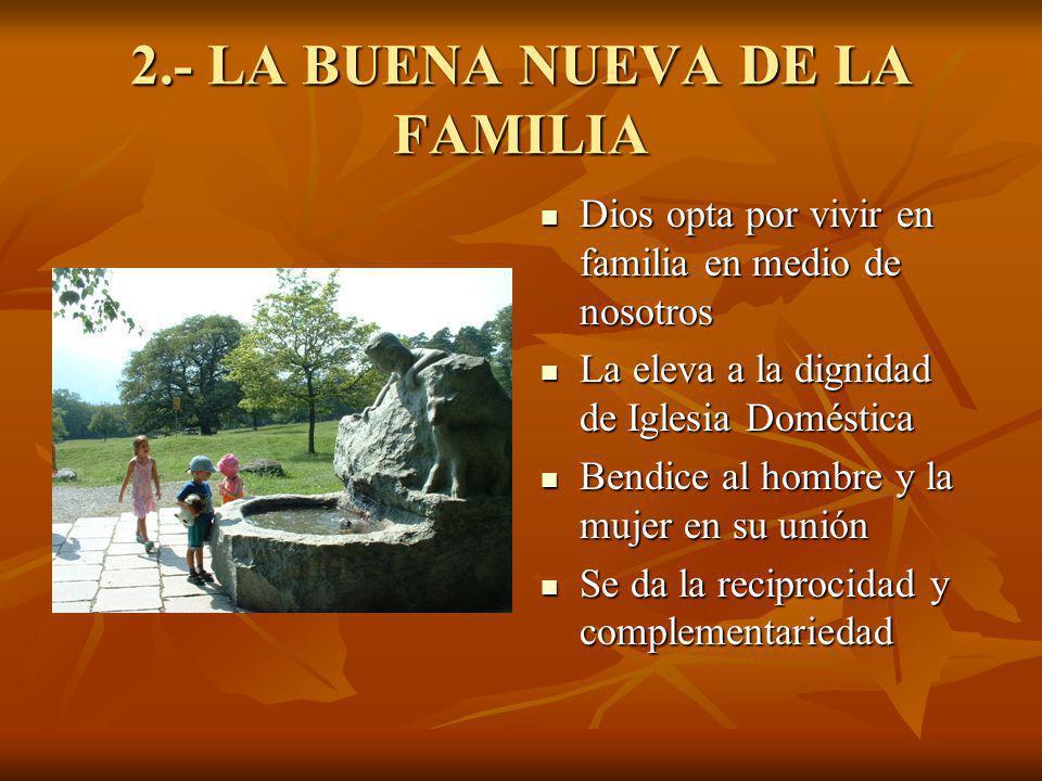 2.- LA BUENA NUEVA DE LA FAMILIA Dios opta por vivir en familia en medio de nosotros Dios opta por vivir en familia en medio de nosotros La eleva a la