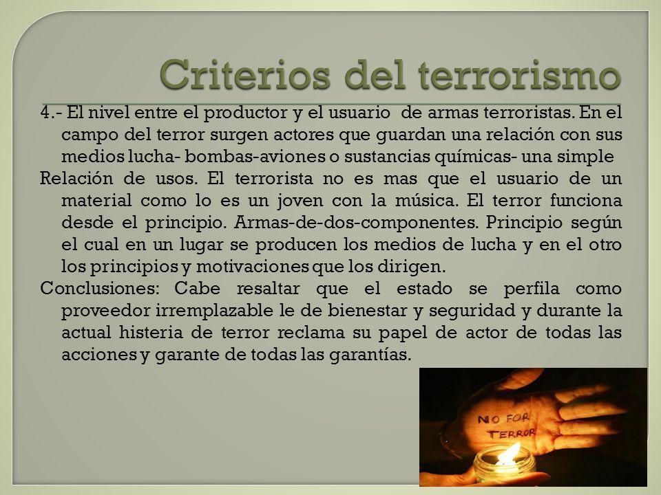 Criterios del terrorismo 4.- El nivel entre el productor y el usuario de armas terroristas. En el campo del terror surgen actores que guardan una rela