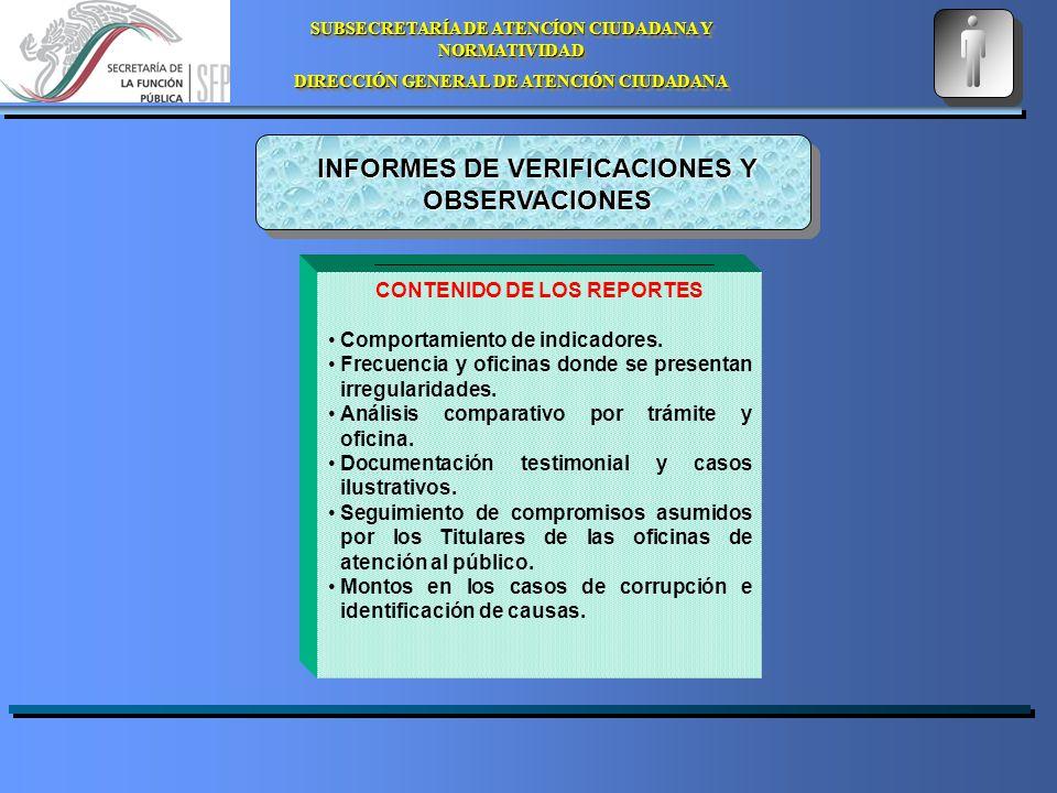 SUBSECRETARÍA DE ATENCÍON CIUDADANA Y NORMATIVIDAD DIRECCIÓN GENERAL DE ATENCIÓN CIUDADANA SUBSECRETARÍA DE ATENCÍON CIUDADANA Y NORMATIVIDAD DIRECCIÓN GENERAL DE ATENCIÓN CIUDADANA INFORMES DE VERIFICACIONES Y OBSERVACIONES CONTENIDO DE LOS REPORTES Comportamiento de indicadores.