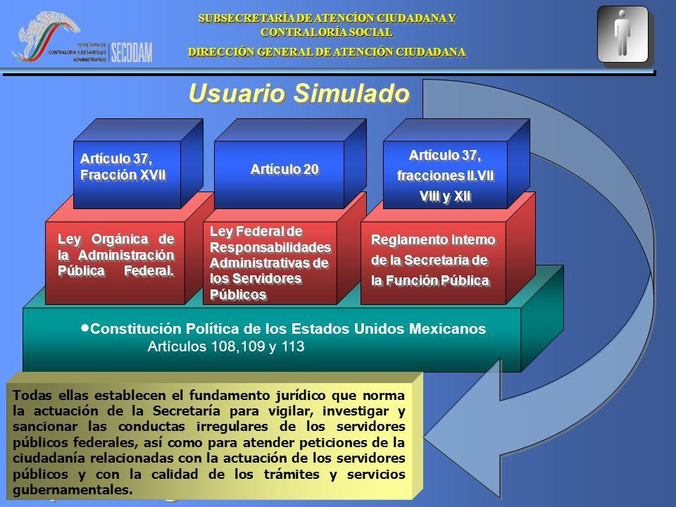 Usuario Simulado Constitución Política de los Estados Unidos Mexicanos Artículos 108,109 y 113 Ley Orgánica de la Administración Pública Federal.
