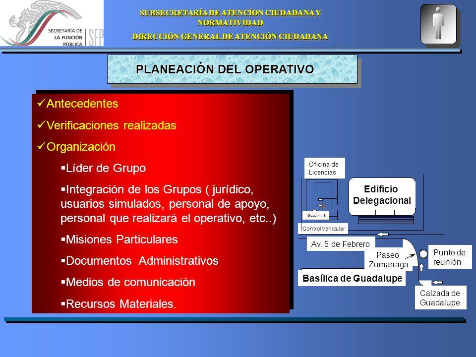 SUBSECRETARÍA DE ATENCÍON CIUDADANA Y NORMATIVIDAD DIRECCIÓN GENERAL DE ATENCIÓN CIUDADANA SUBSECRETARÍA DE ATENCÍON CIUDADANA Y NORMATIVIDAD DIRECCIÓN GENERAL DE ATENCIÓN CIUDADANA PLANEACIÓN DEL OPERATIVO Edificio Delegacional Control Vehicular Oficina de Licencias Basílica de Guadalupe Calzada de Guadalupe Punto de reunión Grupo 4 y 6 Av.