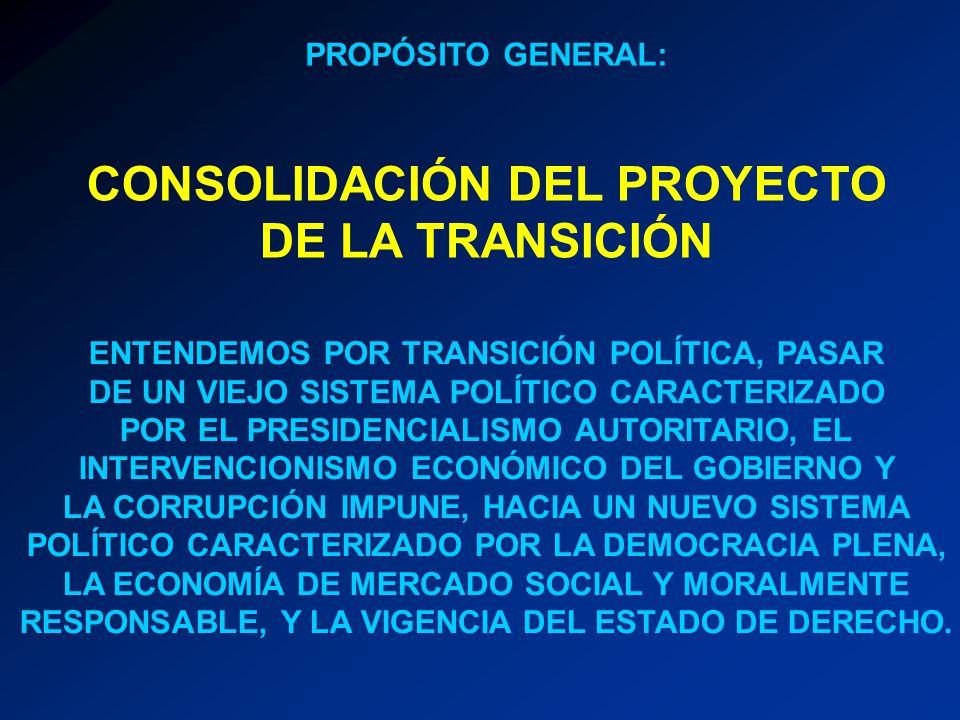 CONSOLIDACIÓN DEL PROYECTO DE LA TRANSICIÓN ENTENDEMOS POR TRANSICIÓN POLÍTICA, PASAR DE UN VIEJO SISTEMA POLÍTICO CARACTERIZADO POR EL PRESIDENCIALIS