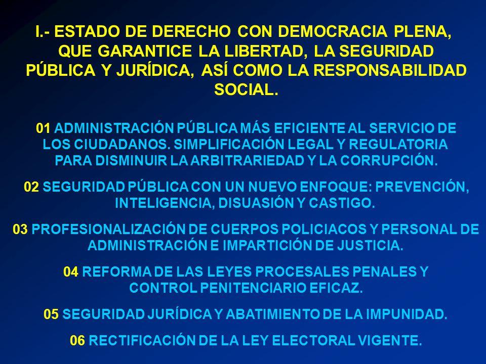 I.- ESTADO DE DERECHO CON DEMOCRACIA PLENA, QUE GARANTICE LA LIBERTAD, LA SEGURIDAD PÚBLICA Y JURÍDICA, ASÍ COMO LA RESPONSABILIDAD SOCIAL. 01 ADMINIS