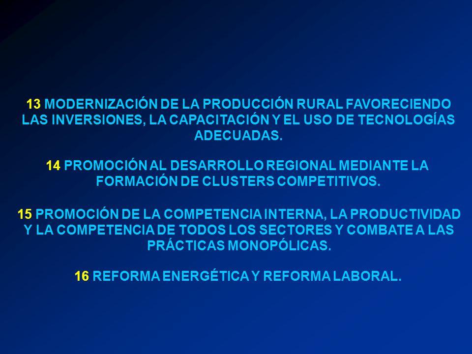 14 PROMOCIÓN AL DESARROLLO REGIONAL MEDIANTE LA FORMACIÓN DE CLUSTERS COMPETITIVOS. 15 PROMOCIÓN DE LA COMPETENCIA INTERNA, LA PRODUCTIVIDAD Y LA COMP