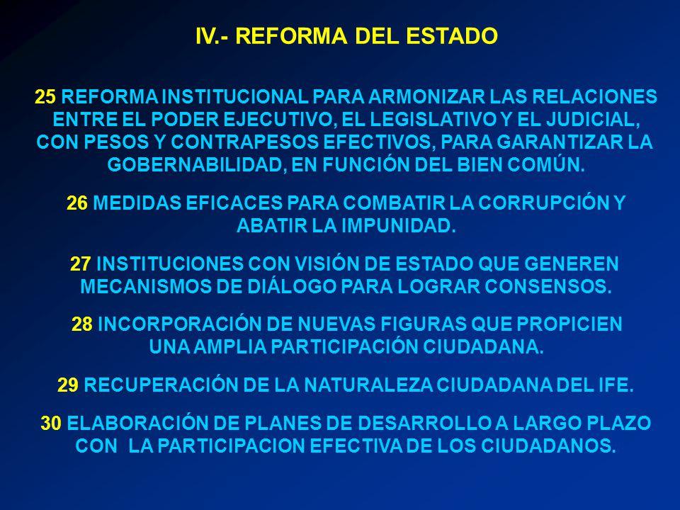 IV.- REFORMA DEL ESTADO 25 REFORMA INSTITUCIONAL PARA ARMONIZAR LAS RELACIONES ENTRE EL PODER EJECUTIVO, EL LEGISLATIVO Y EL JUDICIAL, CON PESOS Y CON