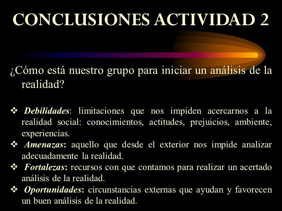 CONCLUSIONES ACTIVIDAD 2 ¿Cómo está nuestro grupo para iniciar un análisis de la realidad.