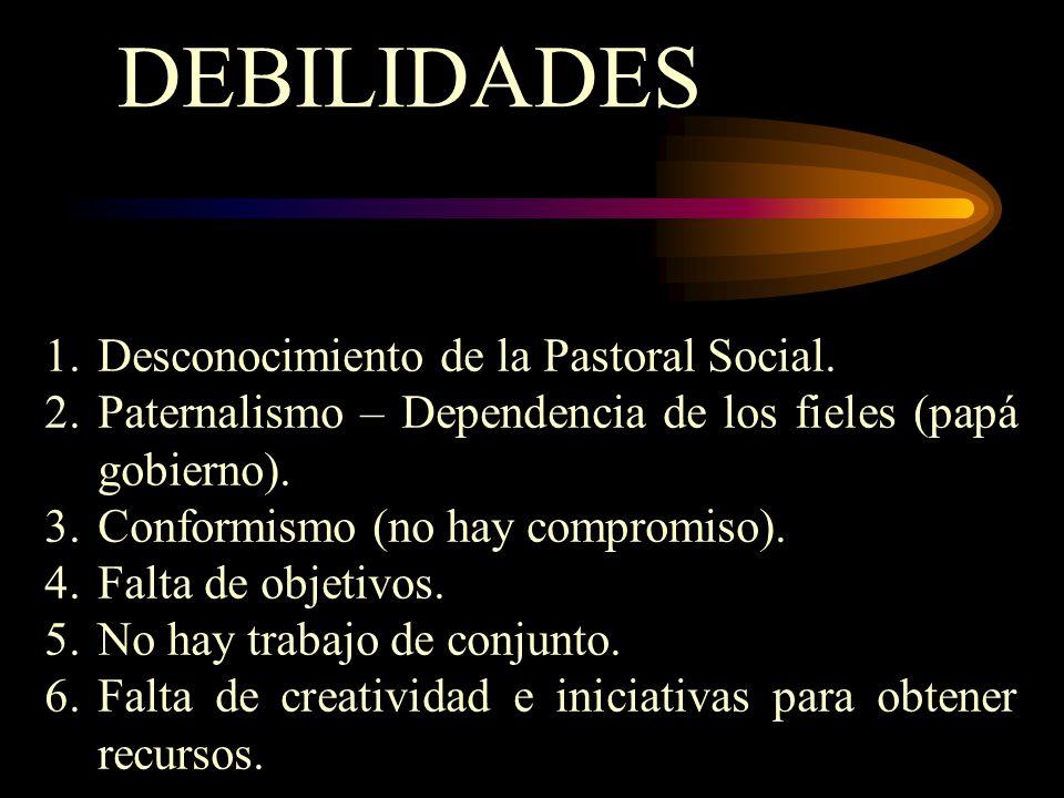 DEBILIDADES 1.Desconocimiento de la Pastoral Social. 2.Paternalismo – Dependencia de los fieles (papá gobierno). 3.Conformismo (no hay compromiso). 4.