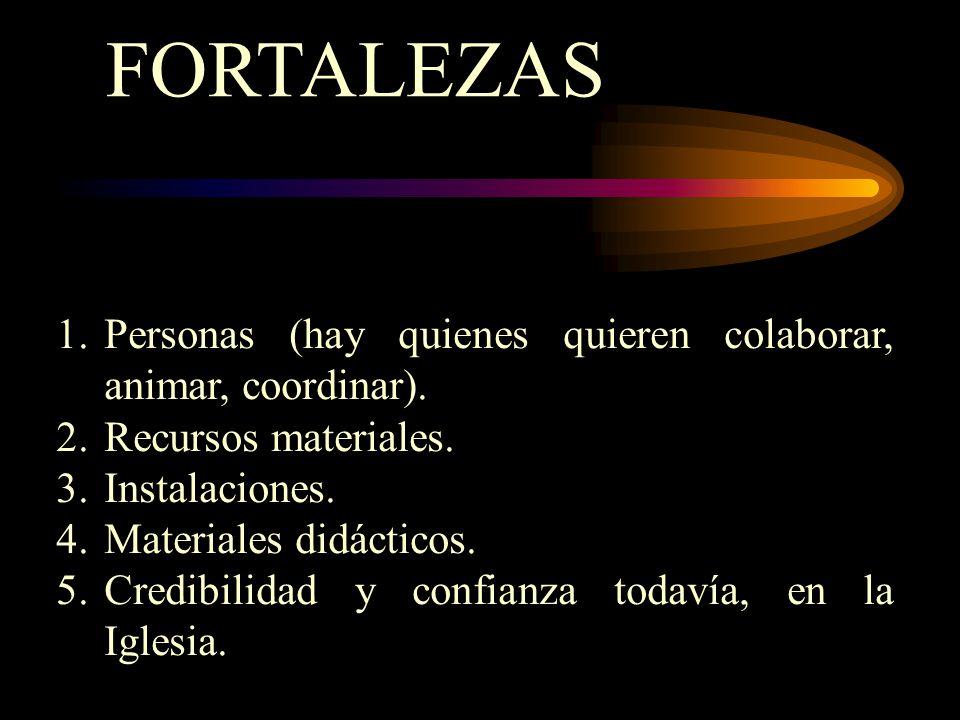 FORTALEZAS 1.Personas (hay quienes quieren colaborar, animar, coordinar). 2.Recursos materiales. 3.Instalaciones. 4.Materiales didácticos. 5.Credibili