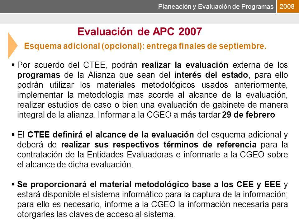 Planeación y Evaluación de Programas2008 Esquema adicional (opcional): entrega finales de septiembre.