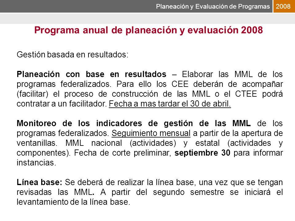 Planeación y Evaluación de Programas2008 Programa anual de planeación y evaluación 2008 Gestión basada en resultados: Planeación con base en resultados – Elaborar las MML de los programas federalizados.