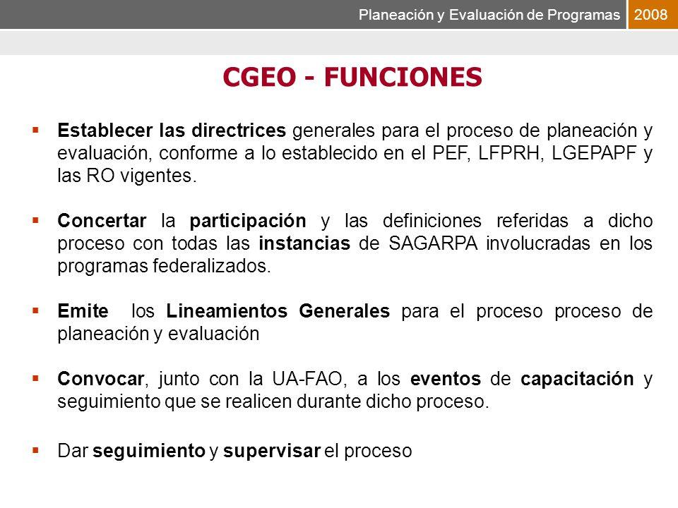 Planeación y Evaluación de Programas2008 Establecer las directrices generales para el proceso de planeación y evaluación, conforme a lo establecido en el PEF, LFPRH, LGEPAPF y las RO vigentes.