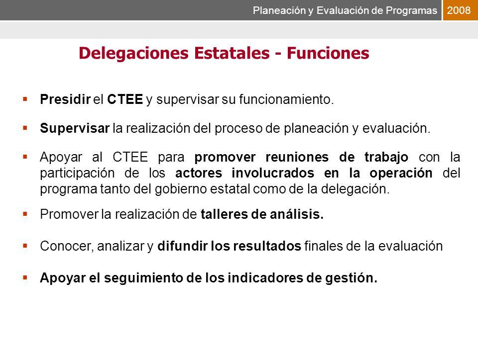Planeación y Evaluación de Programas2008 Presidir el CTEE y supervisar su funcionamiento.