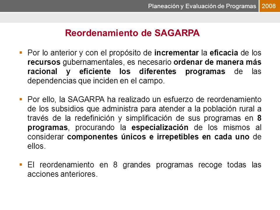 Planeación y Evaluación de Programas2008 Por lo anterior y con el propósito de incrementar la eficacia de los recursos gubernamentales, es necesario ordenar de manera más racional y eficiente los diferentes programas de las dependencias que inciden en el campo.