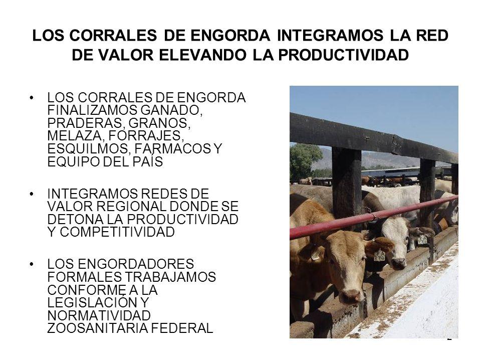 2 LOS CORRALES DE ENGORDA INTEGRAMOS LA RED DE VALOR ELEVANDO LA PRODUCTIVIDAD LOS CORRALES DE ENGORDA FINALIZAMOS GANADO, PRADERAS, GRANOS, MELAZA, FORRAJES, ESQUILMOS, FARMACOS Y EQUIPO DEL PAÍS INTEGRAMOS REDES DE VALOR REGIONAL DONDE SE DETONA LA PRODUCTIVIDAD Y COMPETITIVIDAD LOS ENGORDADORES FORMALES TRABAJAMOS CONFORME A LA LEGISLACIÓN Y NORMATIVIDAD ZOOSANITARIA FEDERAL