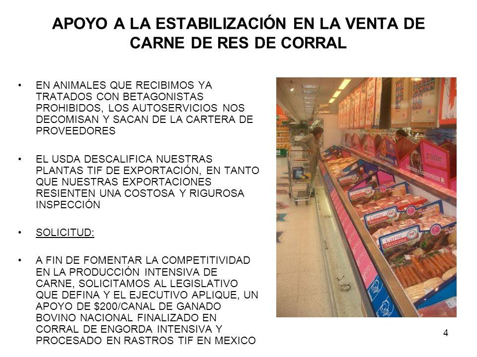 4 APOYO A LA ESTABILIZACIÓN EN LA VENTA DE CARNE DE RES DE CORRAL EN ANIMALES QUE RECIBIMOS YA TRATADOS CON BETAGONISTAS PROHIBIDOS, LOS AUTOSERVICIOS NOS DECOMISAN Y SACAN DE LA CARTERA DE PROVEEDORES EL USDA DESCALIFICA NUESTRAS PLANTAS TIF DE EXPORTACIÓN, EN TANTO QUE NUESTRAS EXPORTACIONES RESIENTEN UNA COSTOSA Y RIGUROSA INSPECCIÓN SOLICITUD: A FIN DE FOMENTAR LA COMPETITIVIDAD EN LA PRODUCCIÓN INTENSIVA DE CARNE, SOLICITAMOS AL LEGISLATIVO QUE DEFINA Y EL EJECUTIVO APLIQUE, UN APOYO DE $200/CANAL DE GANADO BOVINO NACIONAL FINALIZADO EN CORRAL DE ENGORDA INTENSIVA Y PROCESADO EN RASTROS TIF EN MEXICO