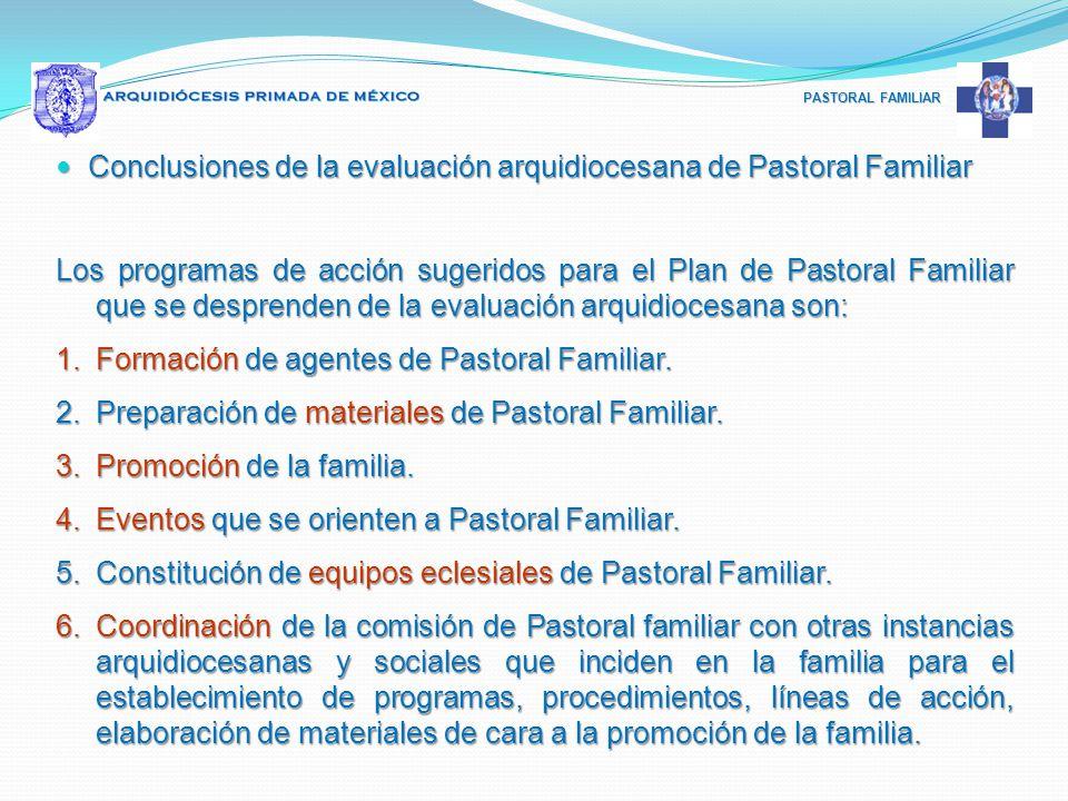 PASTORAL FAMILIAR Conclusiones de la evaluación arquidiocesana de Pastoral Familiar Conclusiones de la evaluación arquidiocesana de Pastoral Familiar