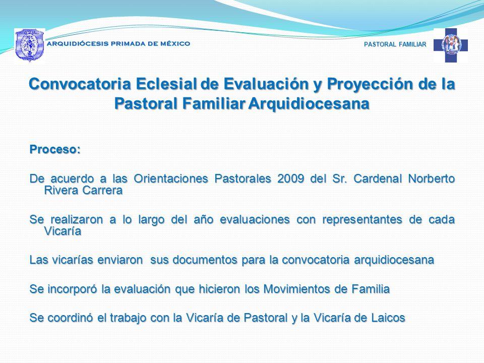PASTORAL FAMILIAR Proceso: De acuerdo a las Orientaciones Pastorales 2009 del Sr. Cardenal Norberto Rivera Carrera Se realizaron a lo largo del año ev