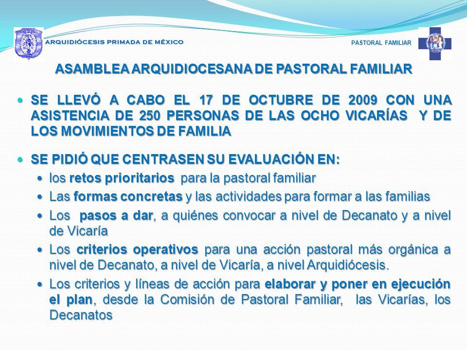 PASTORAL FAMILIAR ASAMBLEA ARQUIDIOCESANA DE PASTORAL FAMILIAR SE LLEVÓ A CABO EL 17 DE OCTUBRE DE 2009 CON UNA ASISTENCIA DE 250 PERSONAS DE LAS OCHO