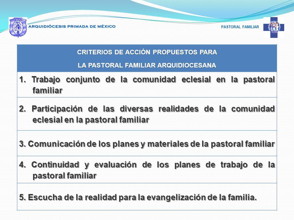 PASTORAL FAMILIAR CRITERIOS DE ACCIÓN PROPUESTOS PARA LA PASTORAL FAMILIAR ARQUIDIOCESANA 1. Trabajo conjunto de la comunidad eclesial en la pastoral