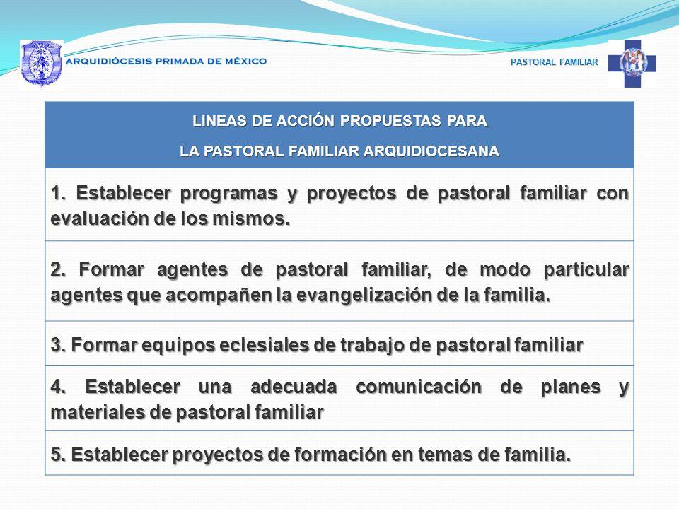 PASTORAL FAMILIAR LINEAS DE ACCIÓN PROPUESTAS PARA LA PASTORAL FAMILIAR ARQUIDIOCESANA 1. Establecer programas y proyectos de pastoral familiar con ev