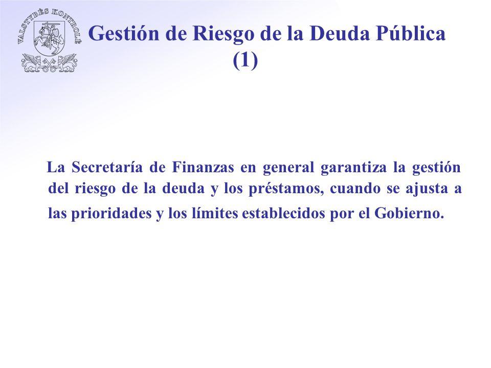 Gestión de Riesgo de la Deuda Pública (1) La Secretaría de Finanzas en general garantiza la gestión del riesgo de la deuda y los préstamos, cuando se ajusta a las prioridades y los límites establecidos por el Gobierno.
