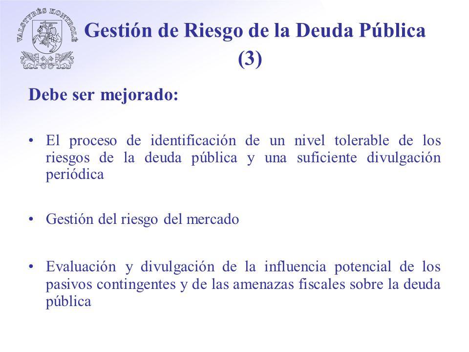 Gestión de Riesgo de la Deuda Pública (3) Debe ser mejorado: El proceso de identificación de un nivel tolerable de los riesgos de la deuda pública y una suficiente divulgación periódica Gestión del riesgo del mercado Evaluación y divulgación de la influencia potencial de los pasivos contingentes y de las amenazas fiscales sobre la deuda pública