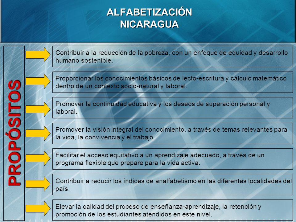 ALFABETIZACIÓN NICARAGUA Contribuir a la reducción de la pobreza, con un enfoque de equidad y desarrollo humano sostenible.