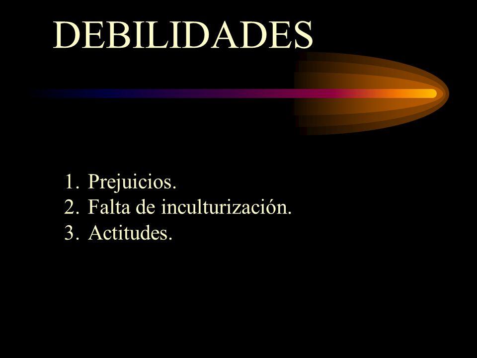 DEBILIDADES 1.Prejuicios. 2.Falta de inculturización. 3.Actitudes.