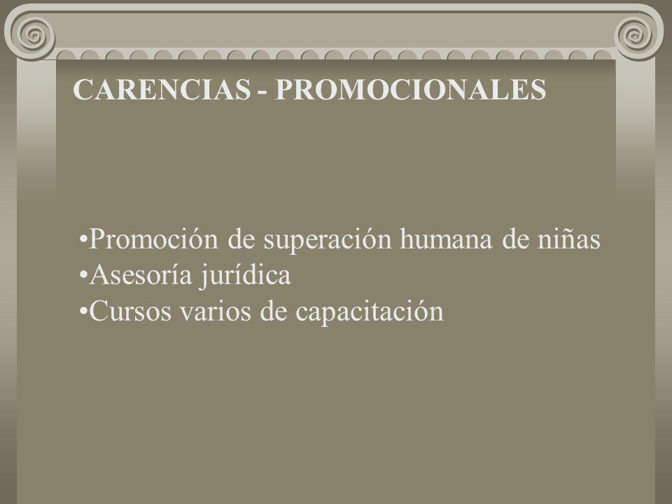 CARENCIAS - PROMOCIONALES Promoción de superación humana de niñas Asesoría jurídica Cursos varios de capacitación