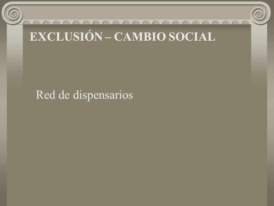 EXCLUSIÓN – CAMBIO SOCIAL Red de dispensarios
