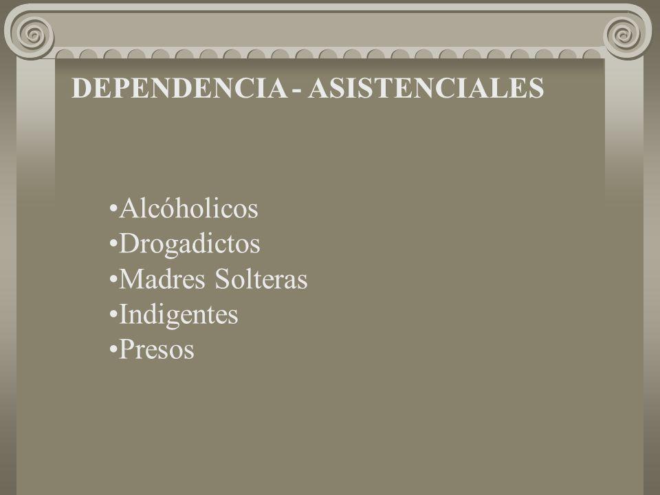 DEPENDENCIA - ASISTENCIALES Alcóholicos Drogadictos Madres Solteras Indigentes Presos
