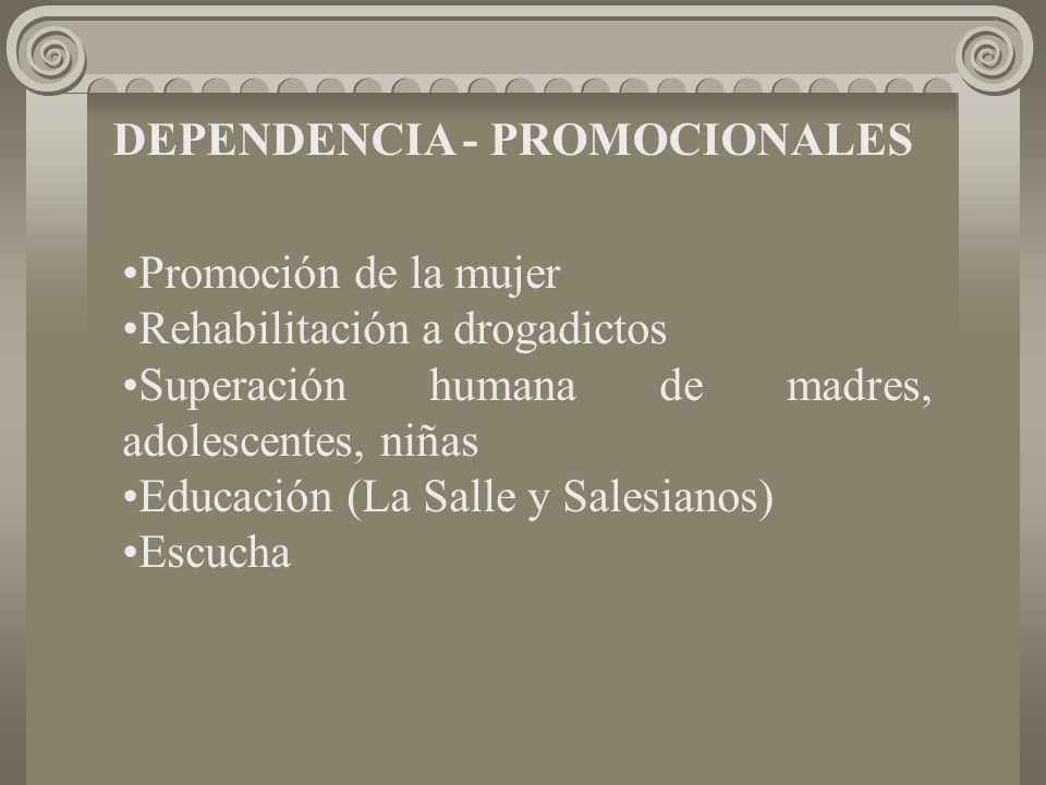 DEPENDENCIA - PROMOCIONALES Promoción de la mujer Rehabilitación a drogadictos Superación humana de madres, adolescentes, niñas Educación (La Salle y Salesianos) Escucha