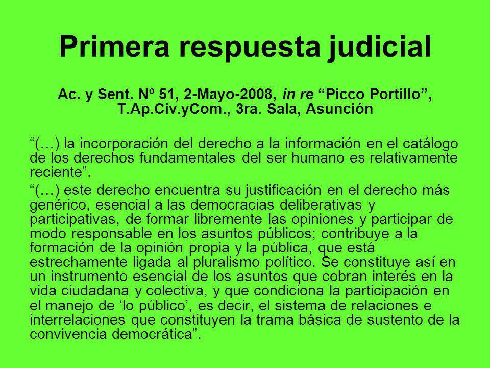 Primera respuesta judicial Ac.y Sent.