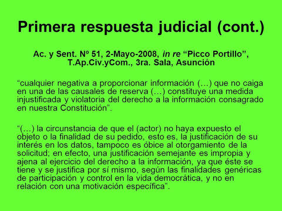 Primera respuesta judicial (cont.) Ac.y Sent.