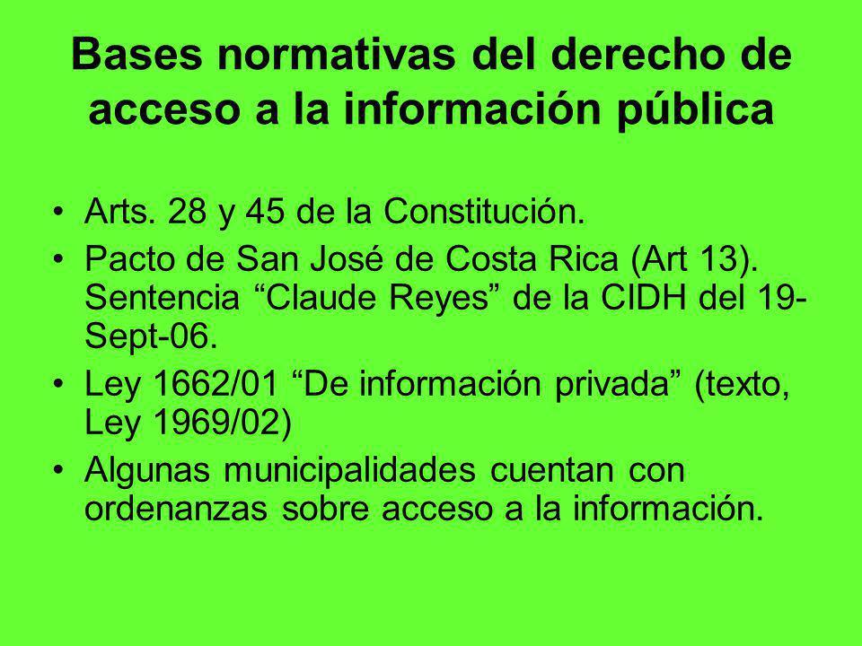 Bases normativas del derecho de acceso a la información pública Arts.