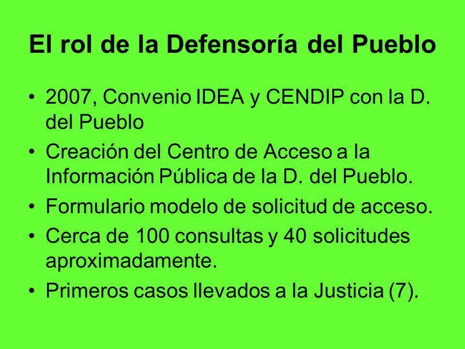 El rol de la Defensoría del Pueblo 2007, Convenio IDEA y CENDIP con la D.