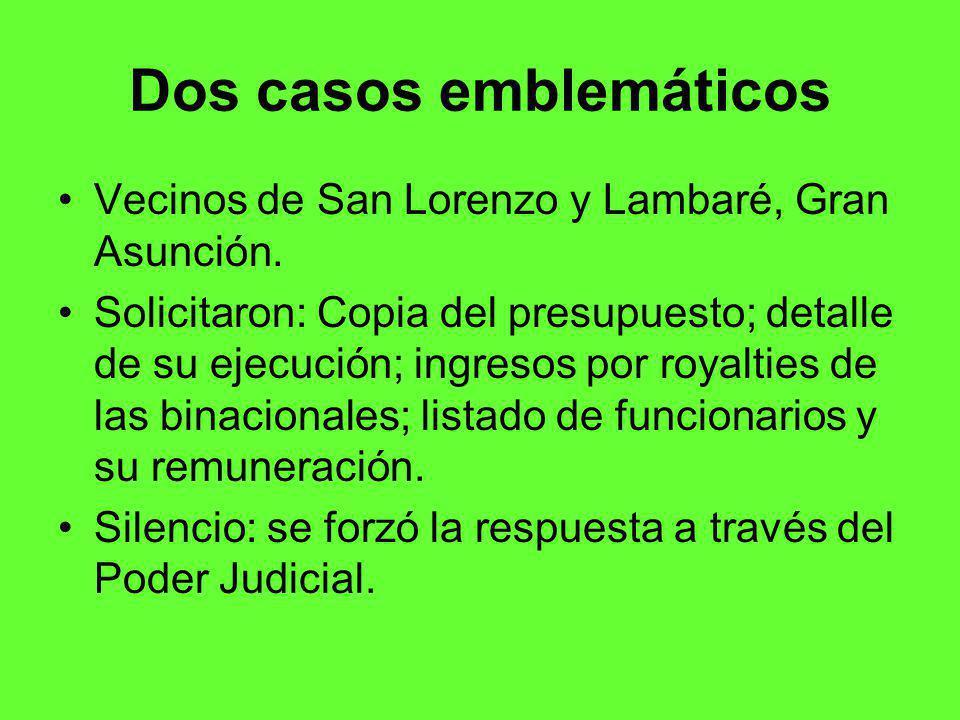 Dos casos emblemáticos Vecinos de San Lorenzo y Lambaré, Gran Asunción.