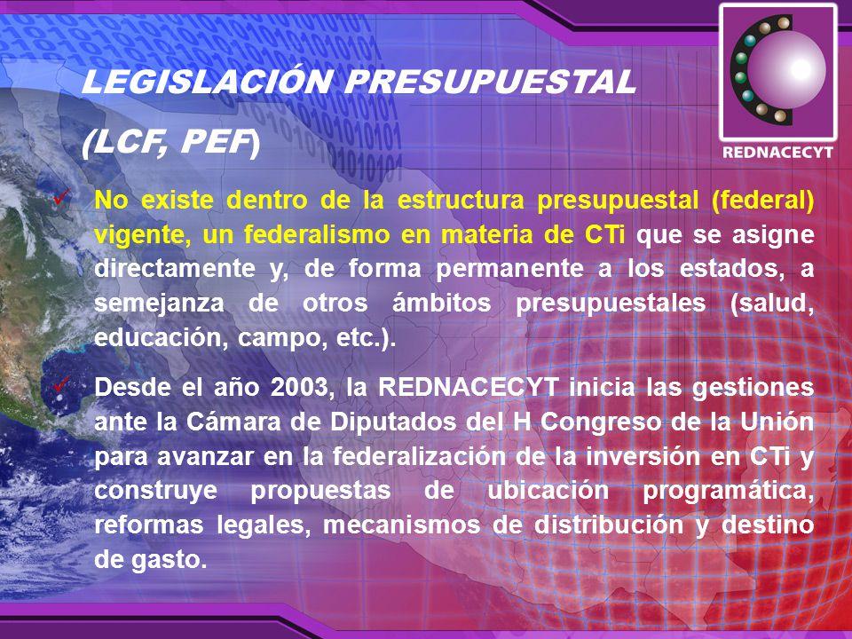 No existe dentro de la estructura presupuestal (federal) vigente, un federalismo en materia de CTi que se asigne directamente y, de forma permanente a los estados, a semejanza de otros ámbitos presupuestales (salud, educación, campo, etc.).