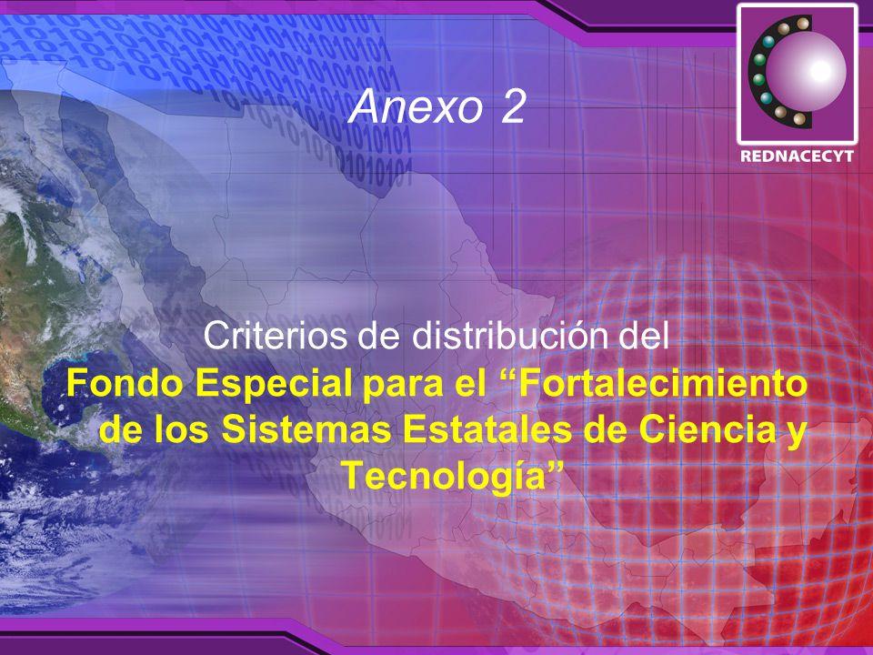 Anexo 2 Criterios de distribución del Fondo Especial para el Fortalecimiento de los Sistemas Estatales de Ciencia y Tecnología