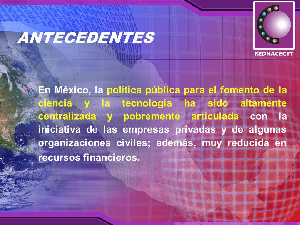 En México, la política pública para el fomento de la ciencia y la tecnología ha sido altamente centralizada y pobremente articulada con la iniciativa de las empresas privadas y de algunas organizaciones civiles; además, muy reducida en recursos financieros.