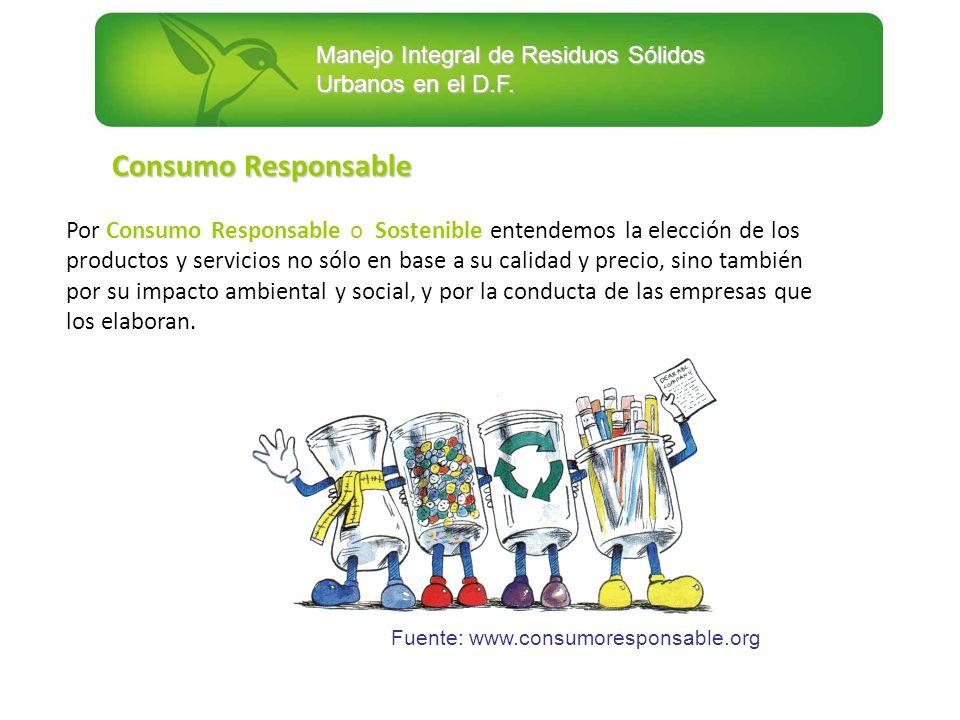 Manejo Integral de Residuos Sólidos Urbanos en el D.F. Fuente: www.consumoresponsable.org Por Consumo Responsable o Sostenible entendemos la elección