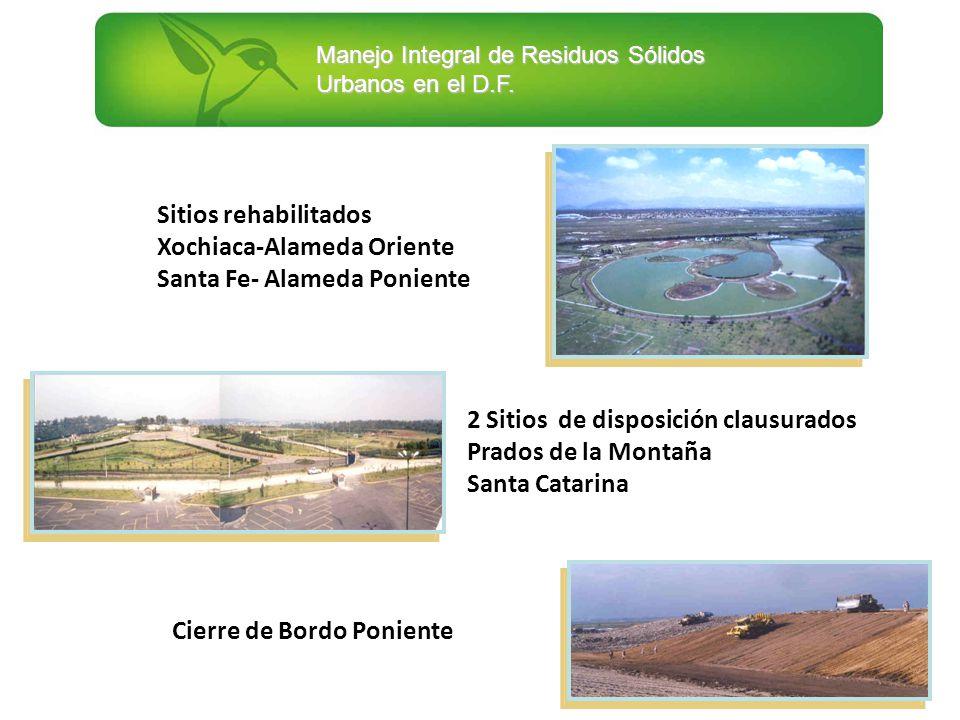 Manejo Integral de Residuos Sólidos Urbanos en el D.F. Sitios rehabilitados Xochiaca-Alameda Oriente Santa Fe- Alameda Poniente 2 Sitios de disposició