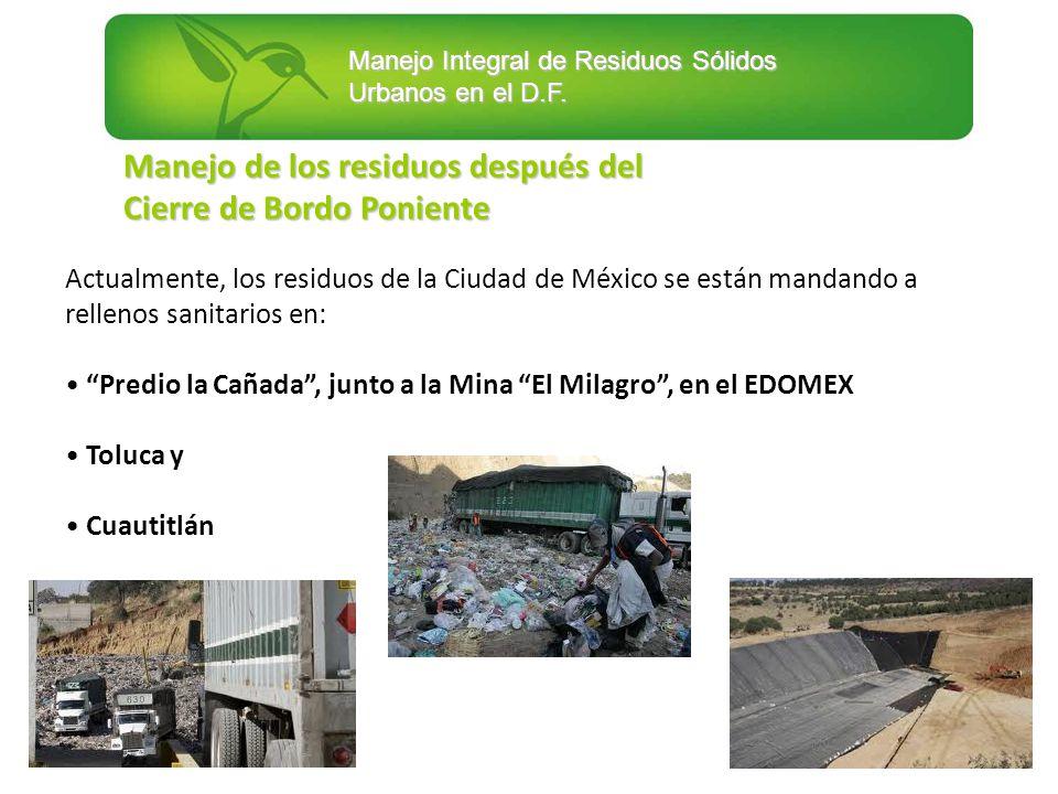 Manejo Integral de Residuos Sólidos Urbanos en el D.F. Manejo de los residuos después del Cierre de Bordo Poniente Actualmente, los residuos de la Ciu