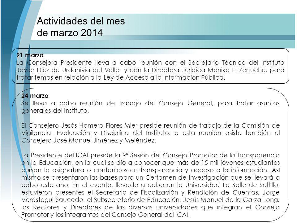 Actividades del mes de marzo 2014 24 marzo Se lleva a cabo reunión de trabajo del Consejo General, para tratar asuntos generales del Instituto.