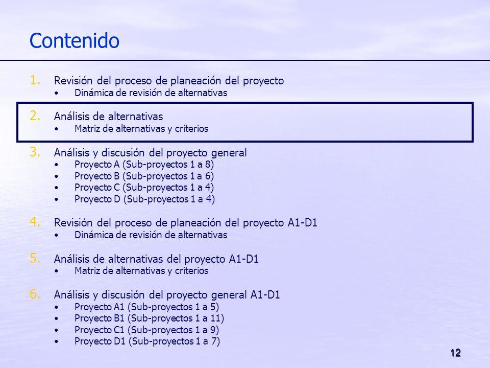 12 Contenido 1. Revisión del proceso de planeación del proyecto Dinámica de revisión de alternativas 2. Análisis de alternativas Matriz de alternativa