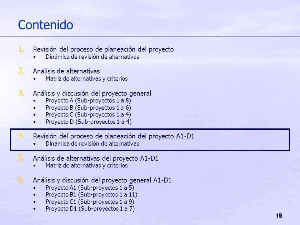 19 Contenido 1. Revisión del proceso de planeación del proyecto Dinámica de revisión de alternativas 2. Análisis de alternativas Matriz de alternativa