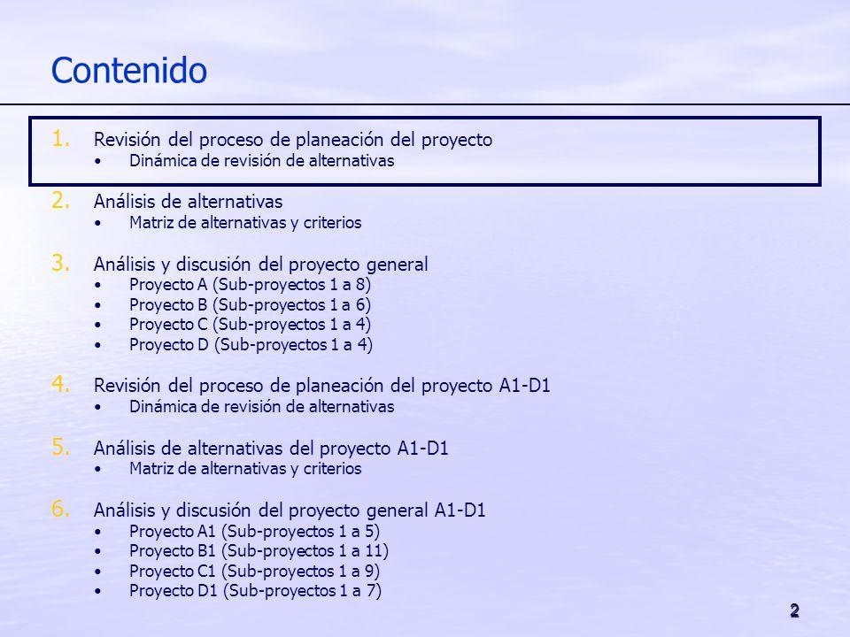 2 Contenido 1. Revisión del proceso de planeación del proyecto Dinámica de revisión de alternativas 2. Análisis de alternativas Matriz de alternativas