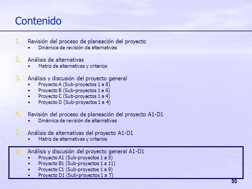 30 Contenido 1. Revisión del proceso de planeación del proyecto Dinámica de revisión de alternativas 2. Análisis de alternativas Matriz de alternativa